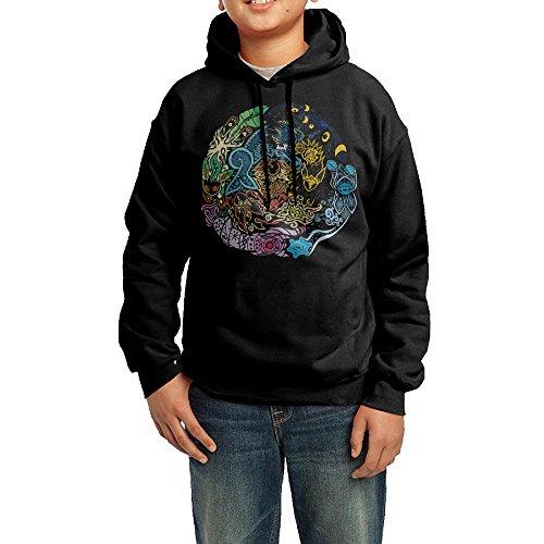 YHTY Youth Boys/Girls Sweatshirt Tribalish Eeveelutions Black Size L
