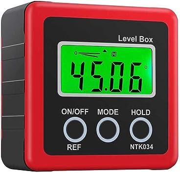 360/Grad Blau Crewell Digital Box Gauge Winkel Winkelmesser Level Neigungsmesser magnetisch Boden 0