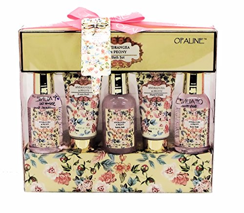 Hydrangea Peony Opaline Luxury Bath Spa Gift Set - Shower Gel, Foam Bath, Bubble Bath, Hand Cream, Body Wash (Scented Gel Peony Shower)
