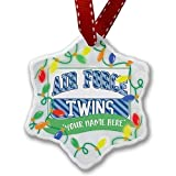 Air Force Twins, Blue Stripes Personailzed Christmas Ornaments Ceramic Christmas Tree Hanging Decorations