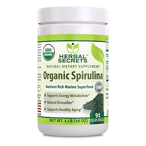 Herbal Secrets USDA Certified Organic Spirulina Powder 16 Oz (Non-GMO) 1 Lb - Nutrient Rich Marine Superfood- Supports Healthy Aging, Energy Metabolism, Natural Detoxifier*