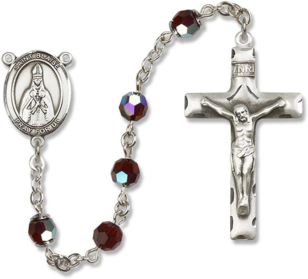 Blaise is the Patron Saint of Throat Ailments. Austrian Tin Cut Aurora Borealis Beads Blaise Center All Sterling Silver Rosary with Garnet 6mm Swarovski St St