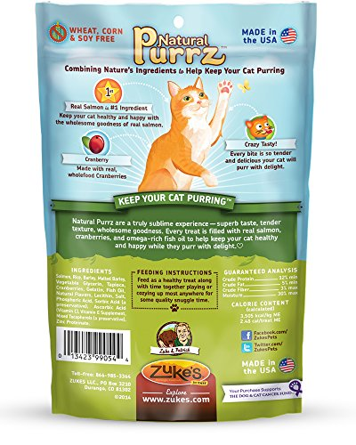 Zuke's Natural Purrz Purrfectly Sublime Soft Treats for Cats, Savory Salmon Recipe, 3-Ounce
