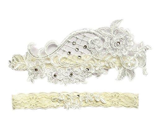 Set Pearl Lovely (Lovely Lace Wedding Bridal Garter with Pearl beaded Garter Set)