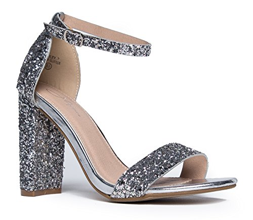 - Strappy Block High Heel, Silver Glitter, 8.5 B(M) US