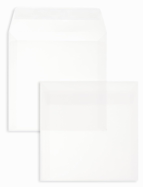 100 Quadratische Umschläge mit Haftstreifen 150x150 mm Weiß 120 g//qm