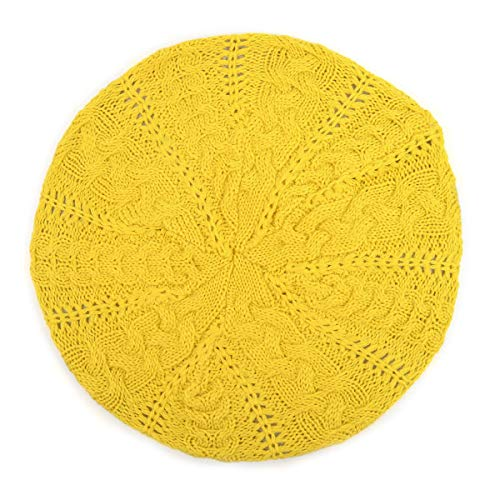 BG Soft Knit Beanie for Women Solid Color Knitted Crochet Beret Beanie Hat One Size Slouchy Yellow