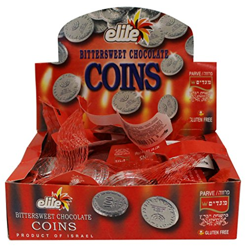Elite Hanukkah Chocolate Coins - Box 24 Sacks, Flavor: Bittersweet 12.7oz -