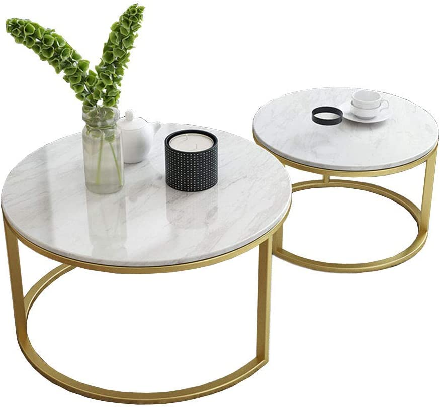 NMDCDH Home Décor Furniture Leisure Coffee Table, Round Nesting Tables, Marble Top, Metal Base, Set of 2, for Living Room or Lounge Living Room or Lounge