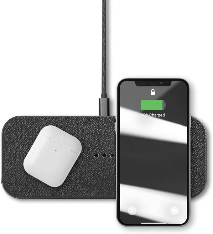 Courant Catch:2 Multi-Device Wireless Charger, Qi Certified, Fast-Charging, Italian Leather,