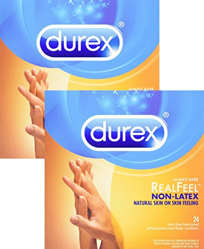 Durex Avanti Bare Real Feel Polyisoprene Non Latex Lubricated Condoms, 2 Pack of 24 Count, 48 Total Count