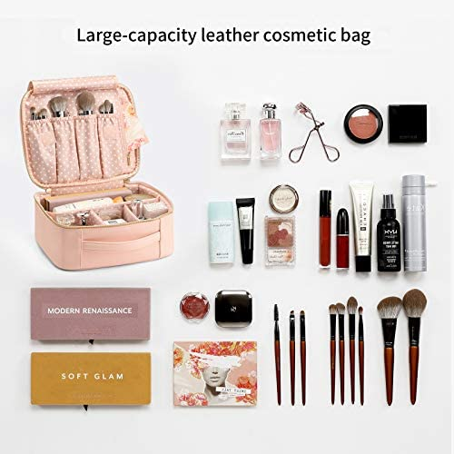 Vlando Travel Makeup Cosmetic Case Organizer Portable Storage Bag with Adjustable Dividers for Cosmetics Makeup Brushes, Girls, Women, Friends