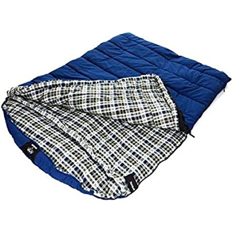 Grizzly Extremely Comfortable And Warm Insulated 2 Person 25 Degree Canvas Sleeping Bag 65 In W X 90 In L Blue