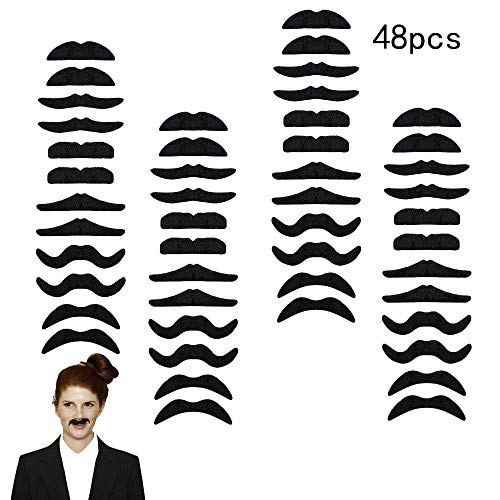 48PCS Self-Adhesive Fake Mustaches - Novelty Fake Mustaches for Masquerade Party ()