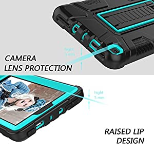 Zenic All-New Amazon Fire 7 2017 Case, Three Layer Heavy Duty Shockproof Full-body Protective Hybrid Case Cover With Kickstand for Kindle Fire 7 2017 / All-New Fire HD 7 (Blue/Black)