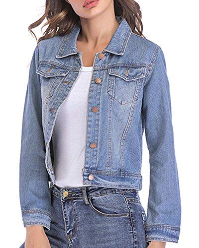Slim Manches Femme Court Longues Fit Revers pour Bleu Jeans en Clair Casual Veste Aq8Ywt