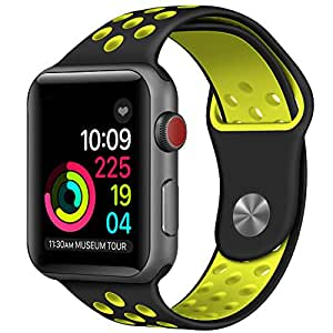For Apple Watch Band 42mm Soft Silicone Replacement Band for Apple Watch Series 3, Series 2, Series 1, Sport , Edition, M/L Size (Black/Yellow)