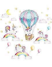 Little Deco muursticker eenhoorns regenboog & heteluchtballon I muurschildering 99 x 58 cm (B x H) I sticker maan en sterren kinderkamer sticker meisjeskamer baby DL539-04