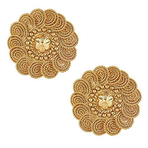 (Bodha Indian Bollywood 22K Traditional Coin Gold Stud Earrings For Women (SJ_1434))