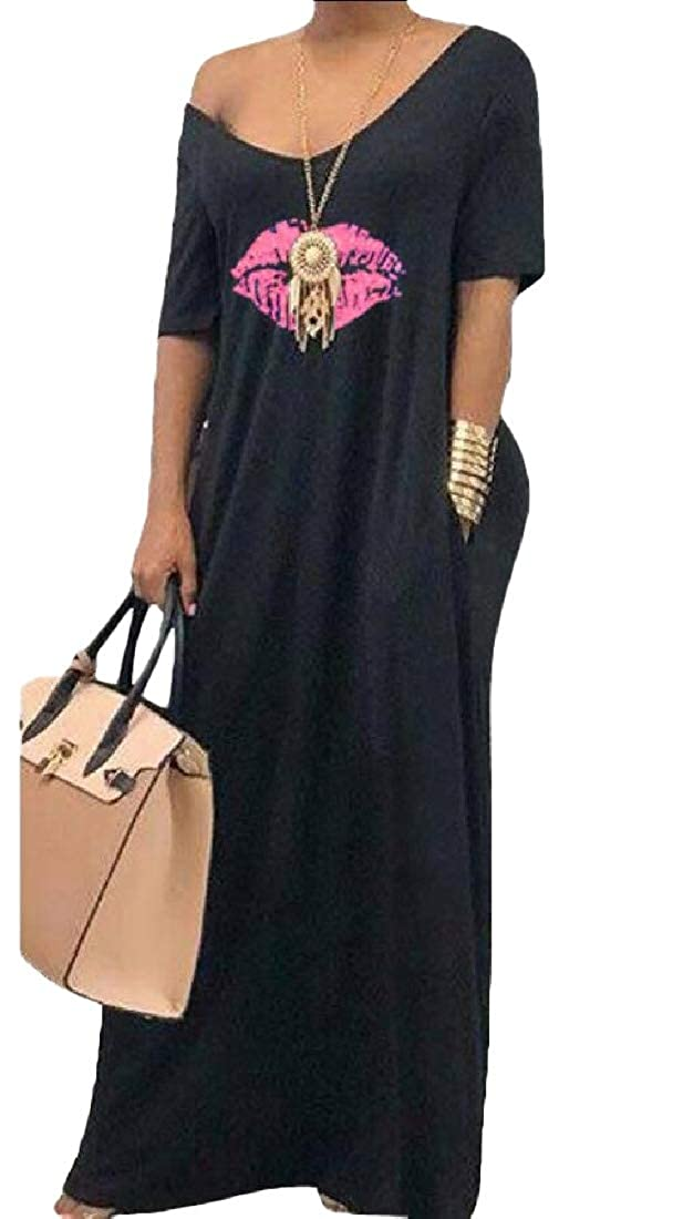 Esast Womens Dress Off Shoulder Short Sleeve Lip Print Long Dress
