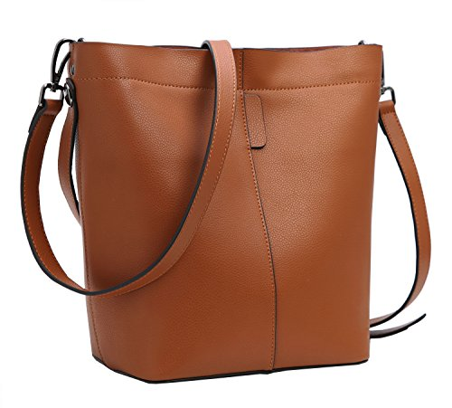 Iswee Fashion Leather Bucket Bag Shoulder Bags Cross Body Hobo Tote Satchel Handbags for Women (Brown)