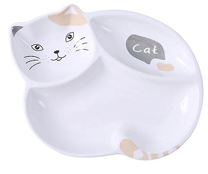 Amazon.com | Ceramics Cat Shape Dinner Plate Seasoning ...