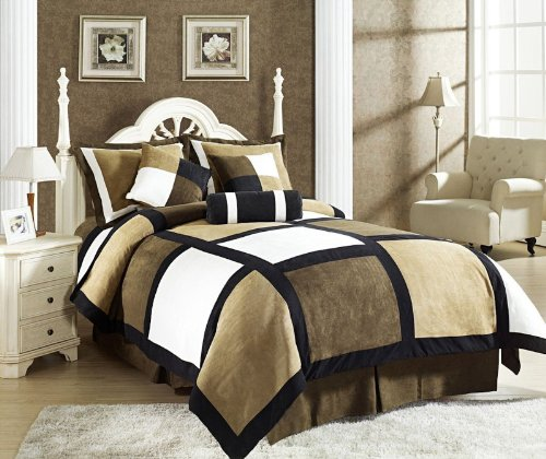 Black Suede Bedskirt - Legacy Decor 7 Piece Black Brown Beige Micro Suede Patchwork Duvet Cover Set King Size, Machine Washable