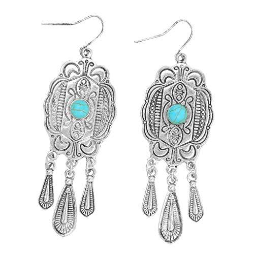 SM SunniMix Alloy Imitation Turquoise Stone Dangle Earrings Geometric Design Ear Ring Created Gemstones Dangle Ear Stud - Silver