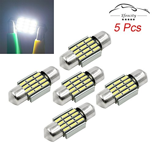 Efoxcity 12V 31mm 1.25 DE3175 5Pcs Canbus Error Free LED Bulbs for Interior License Plate Dome Map Door Courtesy Car Light