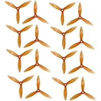 Genuine Gemfan 5149 3-Blades FLASH (5.1x4.9x3) Propellers by RAYCorp. 16 Pieces(8CW, 8CCW) Clear Orange - Polycarbonate 5.1-inch Tri Blades Quadcopters & Multirotors Props + RAYCorp Battery Strap