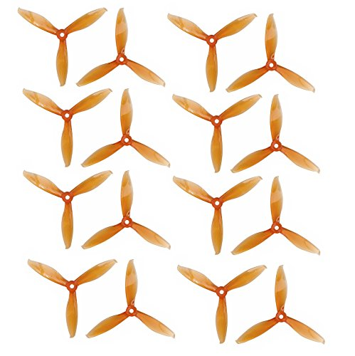 Genuine Gemfan 5149 3-Blades FLASH (5.1×4.9×3) Propellers by RAYCorp. 16 Pieces(8CW, 8CCW) Clear Orange – Polycarbonate 5.1-inch Tri Blades Quadcopters & Multirotors Props + RAYCorp Battery Strap