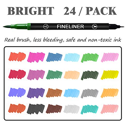 L\'aise vie Dual Markers Brush Pen, 0.4mm Fine Tip Markers & Brush Highlighter Pen Set of 24 for Adult Coloring, Journaling