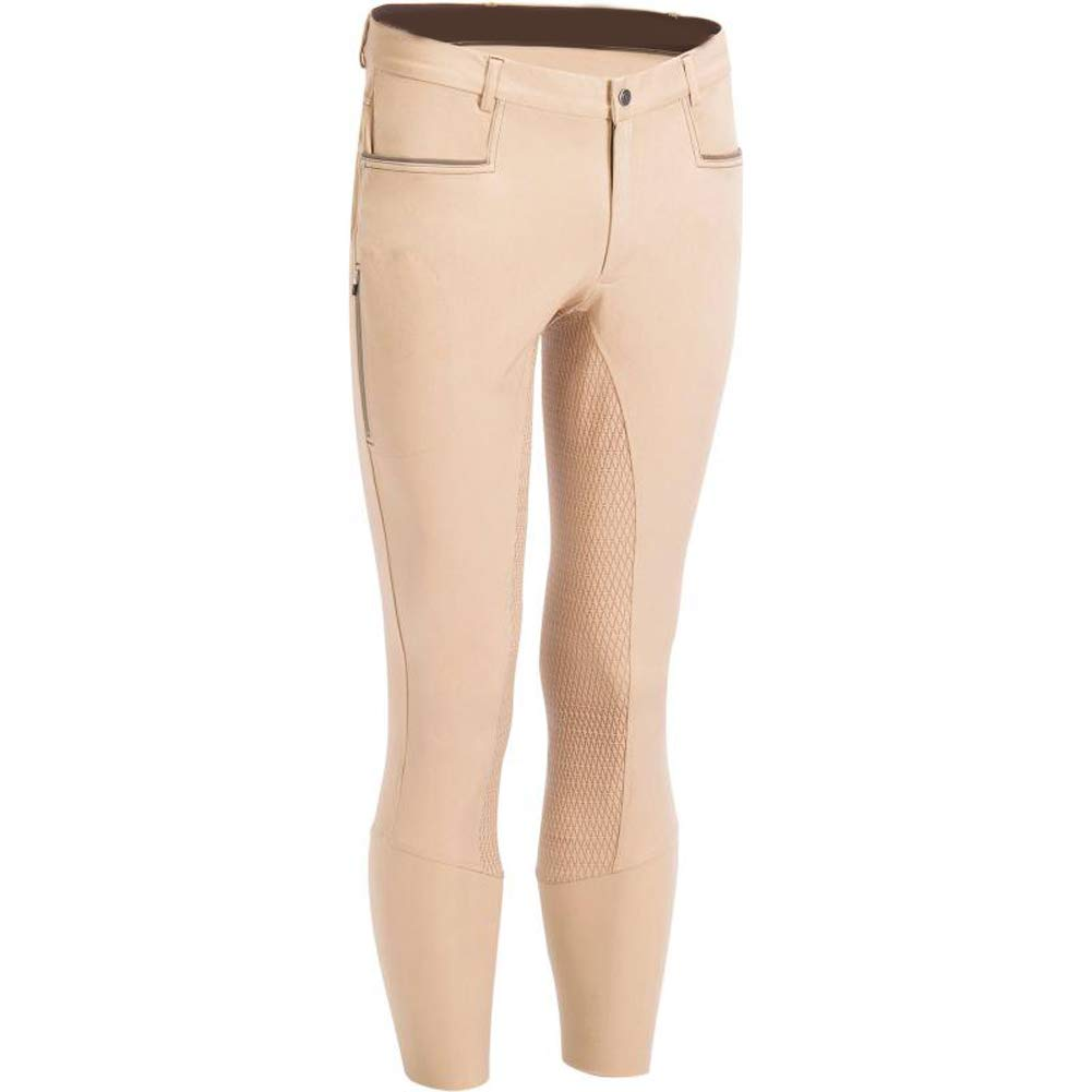 Mens Riding,Classic Knee Patches Riding Trousers,/ 2 Front Pockets,Cotton Stretch Riding Breeches PGSJX