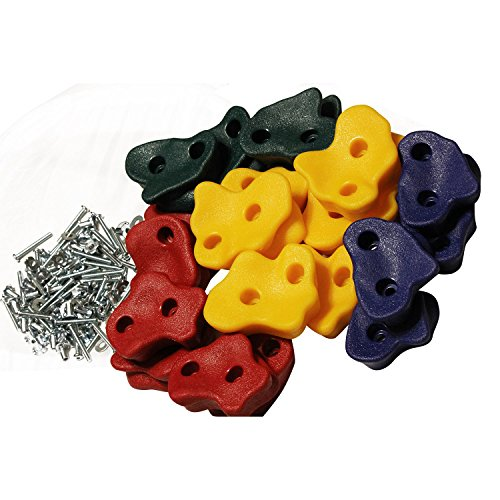 Purchase 20 Large Premium Kids Rock Climbing Wall Holds with Hardware Screws for Children Outdoor Pl...