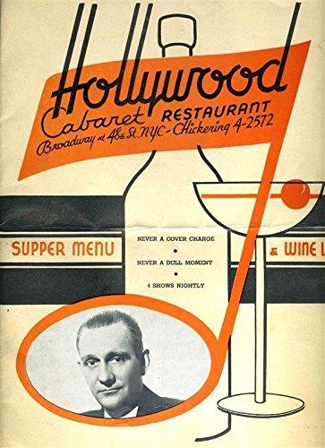 48th Street - Hollywood Cabaret Restaurant Dinner Menu 1930's Broadway & 48th Street New York