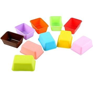 Leisial 10pcs de Silicona del Molde de la Torta Molde de Gelatina Moldes de Jabón Color al Azar-Forma de Rectángulo: Amazon.es: Bricolaje y herramientas
