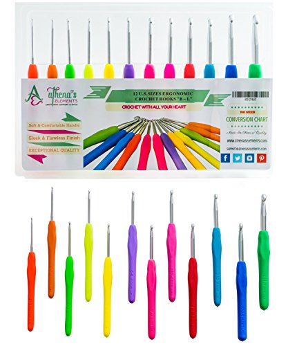 Crochet Hooks Set AMERICAN LETTER Sizes 12 Ergonomic Handles B 2.25mm - L 8mm EXTREMELY COMFORTABLE Grips Perfect For Arthritic Hands - SMOOTH & EXTRA Long Shaft Perfect for Super Chunky (Free Knitting Patterns Chunky)