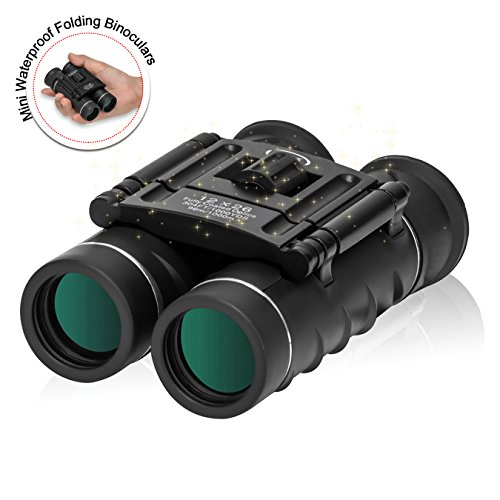 ZOMAKE Mini Waterproof Folding Binoculars (12x26) High Powered Binocular With Weak Light Night Vision Clear Bird Watching
