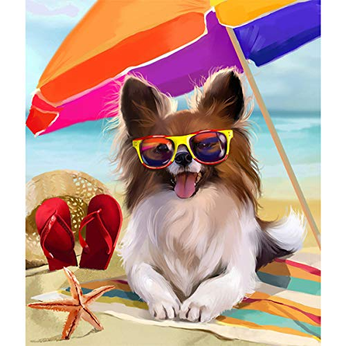 Ginfonr 5D DIY Diamond Painting Art Beach Sunglasses Dog for Adults Full Drill by Number Kits, Pet Holiday Paint with Diamonds Puppy Animal Craft Rhinestone Cross Stitch Decor (12x16 ()