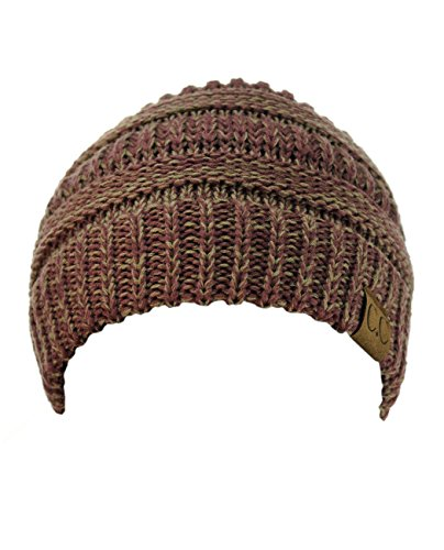 C.C Trendy Warm Chunky Soft Stretch Cable Knit Beanie Skully, Raspberry/Beige - 09 Beanie