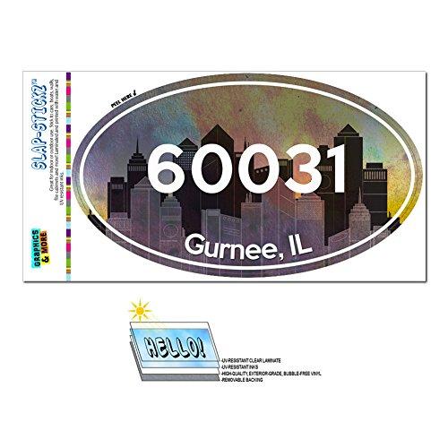 Graphics and More Zip Code 60031 Gurnee, IL Euro Oval Window Bumper Glossy Laminated Sticker - City (City Of Gurnee Il)