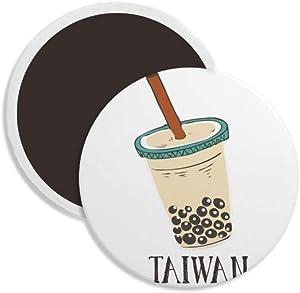 Drink Pearl milk tea Food Taiwan Round Ceramics Fridge Magnet Keepsake Decoration