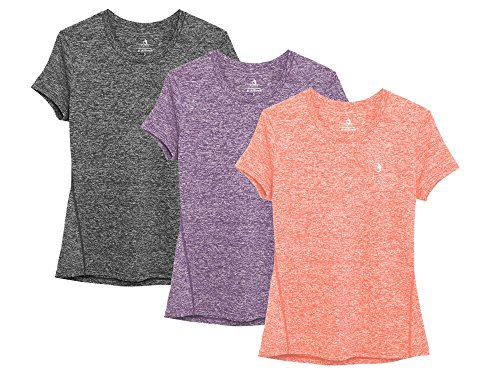 icyzone Women's Ultimate Short-Sleeve Workout Running Yoga Fitness Sports Tshirts (L, Charcoal/Lavender/Peach)