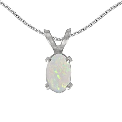 Amazon 14k white gold oval opal pendant with 18 chain pendant 14k white gold oval opal pendant with 18quot aloadofball Gallery