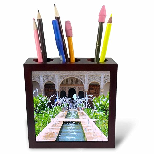 3dRose ph_112956_1 Water Fountains at Alhambra Palace Gardens in Grenada Spain-Islamic Turkish Muslim Fretwork Arches-Tile Pen Holder, 5-Inch (Alhambra Fountain)