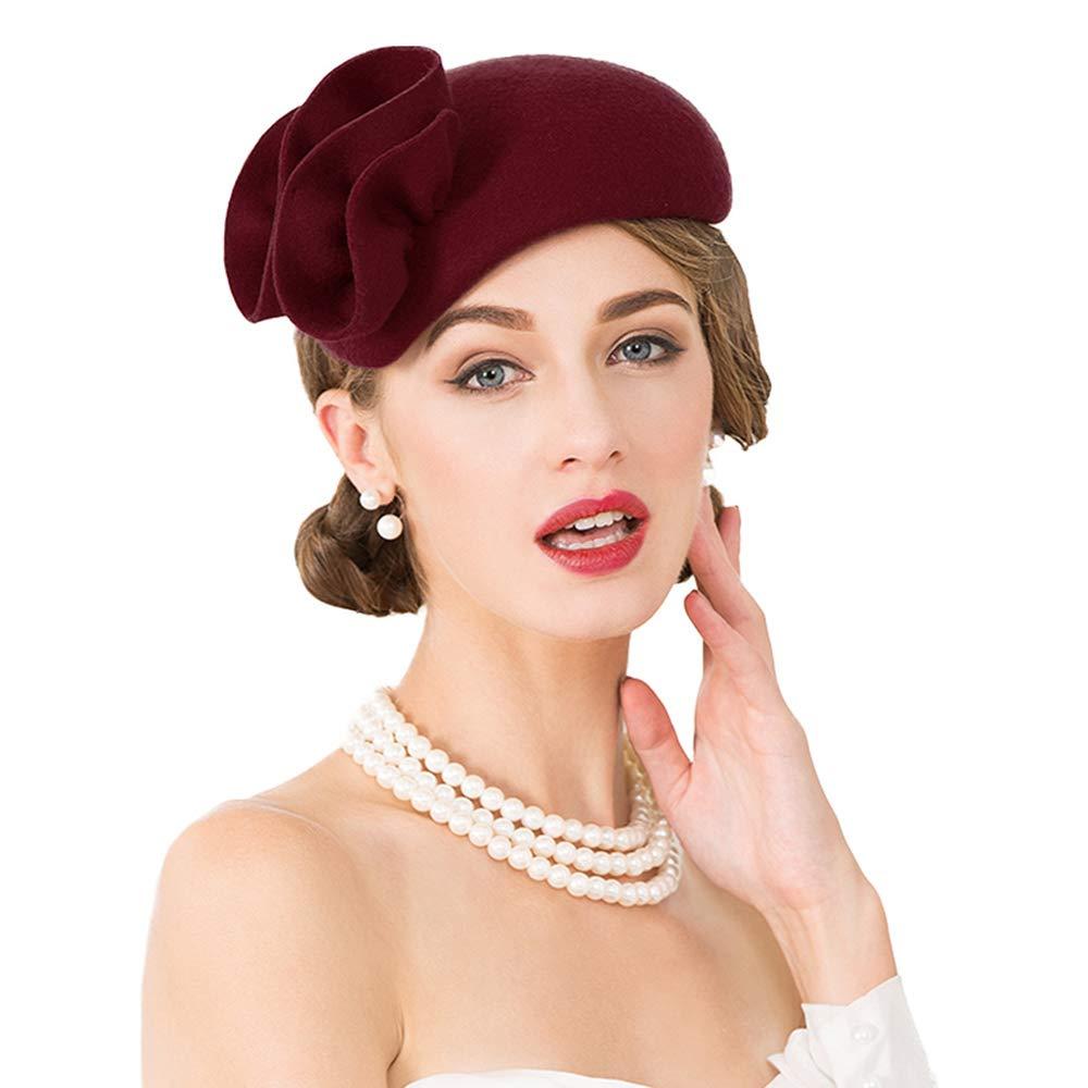 F FADVES Flower Womens Dress Fascinator Wool Felt Fedora French Pillbox Hat Party Wedding