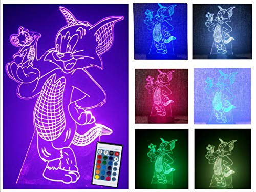 Creative 3D Tom and Jerry Illusion Lamp with Remote Control Timer Along with 7 Different Glowing Color for Kids Choice Support USB Cable or 3 AAA Battery for Kids as ()