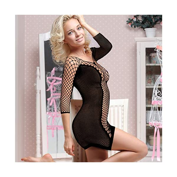 6 Pièces Lingerie en Maille pour Femmes Nuisette en Résille Mini Robe Vêtements de Nuit en Maille