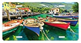 zaeshe3536658 Italy License Plate, Summer Landscape and Wooden Boats on the Lake Garda Torbole Town Fishing Maritime, High Gloss Aluminum Novelty Plate, 6 X 12 Inches, Multicolor