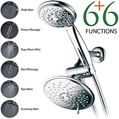 HotelSpa® 30-Setting Ultra-Luxury 3 way Spiral Rainfall Shower-Head/Handheld Shower Combo by Top Brand Manufacturer